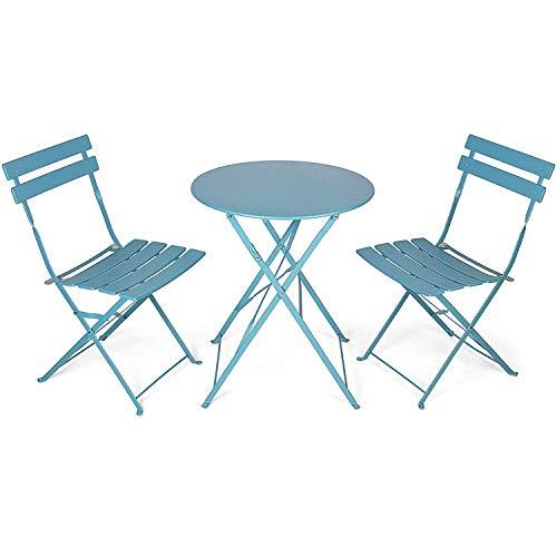 OUTDOOR Balkon-Set - Klapptisch und Stühle - 3-teiliges Gartenmöbel-Set - Geeignet für Garten, Terrasse und Balkon -