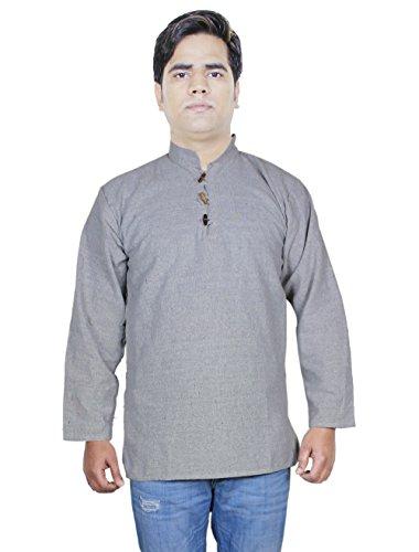 Uomini camicia di cotone breve kurta - vestito indiano moda abbigliamento-size xl