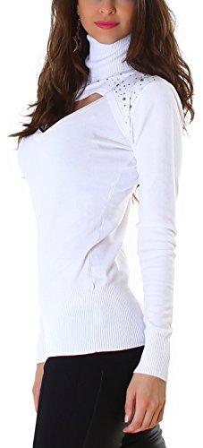 Maglia a maniche lunghe/Jela London Pullover di Bolero-effetto con roll colletto (34 36 38 taglia unica) Bianco