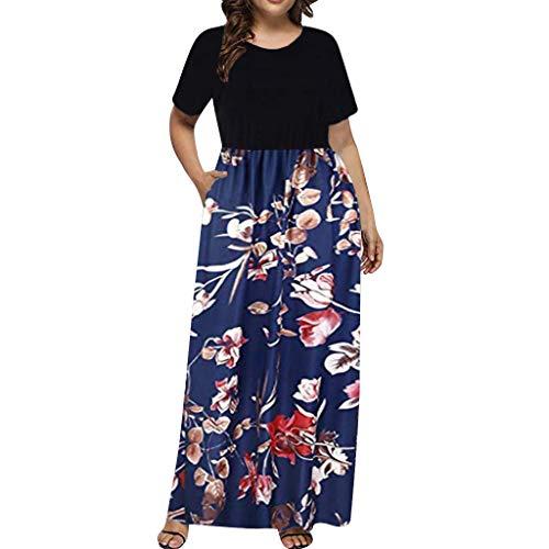 LSAltd Sommer Frauen Casual Blumendruck Plus Größe Täglich Langes Kleid Damen Kurze Oansatz Kurzarm Oversize Strand Maxi Kleid (Plus Größe Kapuzen-kleid)