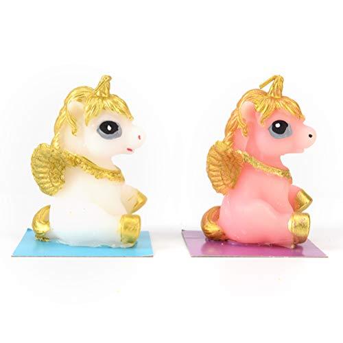 YYHMHMH Ángel Unicornio Modelo Art Cake Vela para El Banquete De Boda Niños Bebé Cumpleaños Velas Decoración Pink Pony Velas Regalos