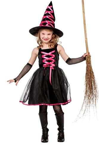 Karneval Klamotten Kostüm Hexe Luxus pink schwarz Halloween Hexenkostüm inkl. Hexenhut Kinder Mädchen Größe 140 (Besen Rosa Hexe)