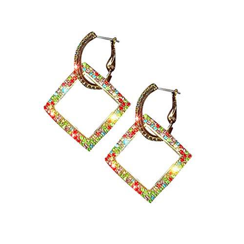 LOLIANNI Frauen kleiden Oben quadratischen Ohrring-Damen-Temperament-geometrischen Multi Form Diamant-Mehrfarbenschmucksachen an