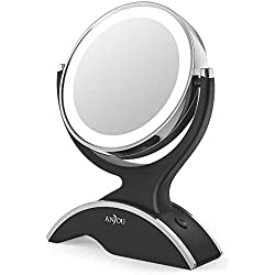 Anjou Table Top 7X / 1X Magnification LED Illuminated Cosmetic, 13cm Diameter Bathroom Round Makeup Mirror - 360 Degree Swivel, Double-Sided and Cable-Free Design, Black, 26.719.85.8 cm
