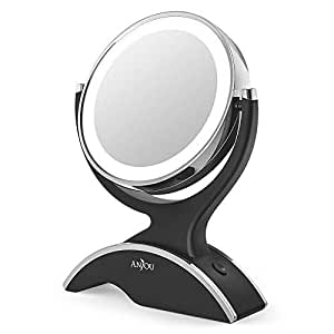 Anjou Table Top 7X / 1X Magnification LED Illuminated Cosmetic, 13cm Diameter Bathroom Round Makeup Mirror-360 Degree Swivel, Double-Sided and Cable-Free Design, Black, 26.7×19.8×5.8 cm