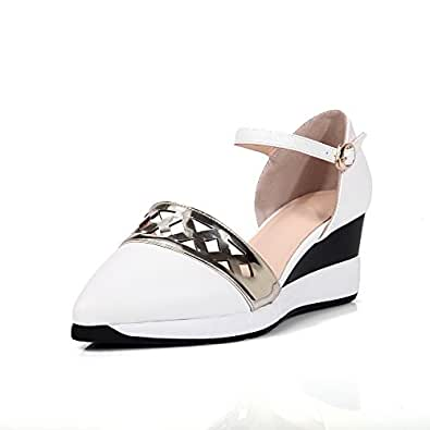 AllhqFashion Women's Buckle Pointed Closed Toe Kitten Heels Pu Assorted Color Pumps Shoes, White, 38