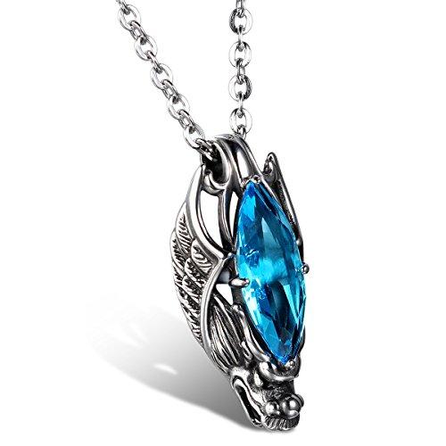 JewelryWe Schmuck Edelstahl Kette, Gotik Herrschsüchtigem Drachen Kopf Anhänger mit Blau Glas,...