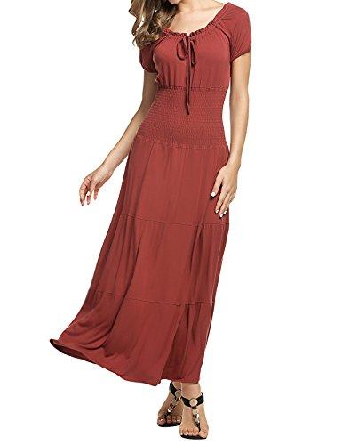 Meaneor Damen Renaissance Maxikleid Falten Empire Kleid Stretch Tailliert Kurzarm Herbst Braun