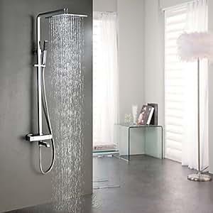 ANG Duscharmaturen - Zeitgenössisch - Thermostatische/Regendusche/Handdusche inklusive - Messing ( Chrom )