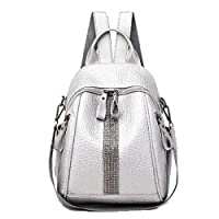 Silver Diamond Backpack Elephant Pattern Bag Youth Girl Travel Bag