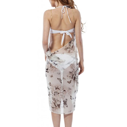 Waooh - Schmetterlinge Gedruckt Sarong Auranne Weiß