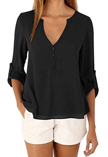 DoubleYI Damen Chiffon Blusen V-Ausschnitt Mode Casual Knopf T-Shirt (M, BK)