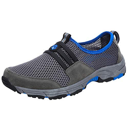 SHE.White Herren Wanderschuhe Mesh Textil Athletic Slip auf Sneakers Leichte Hiking Schuhe Freizeitschuhe Low Top Atmungsaktiv Turnschuhe Sportschuhe -