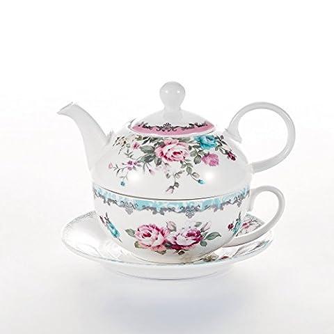 Malacasa, Série SWEET.TIME, Set Théière avec Tasse à Café Soucoupe Sous-tasse en Porcelaine Service à Thé Café (Fleuri 1)