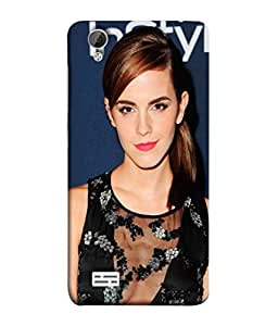 Vivo Y31L Beautiful Emma Watson Image Printed Back Cover Hybrid Strong Polycarbonate Hard Case Cover With Premium Quality and Matte Finish by Print Vale