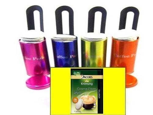 "4x Original für Senseo passend und anderer Fabrikate Paddosen \""James Premium® \"" mit Padlifter + 1 Packung Jacobs Caffè Kräftig , Kaffeepads"