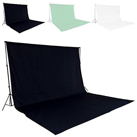 TecTake Professional Photo Studio with Backdrop 6x3m green + Stand Support Photography Set - different colours - (Black | No. 400779)