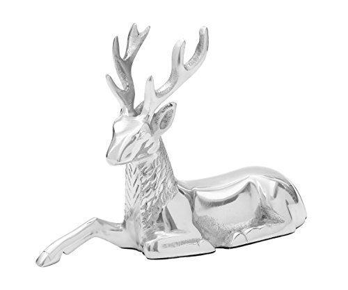 Brillibrum Dekofigur Hirsch Figur Rentier Metall Silber Weihnachts-Dekoration REH Statue Skulptur Garten Liegend Stehend Wild Weihnachts-Figur (Hirsch - Liegend)