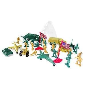 Army Toys – Ensemble Militaire – Mini Figurines Soldats et Véhicules – Boite 34 Pièces