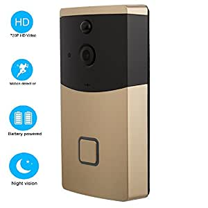OPTA Video Doorbell 720P HD WiFi Camera Real-Time Video Two-Way Audio Wide-Angle Lens Night Vision PIR Motion Detection App Control for iOS and Android -Gold
