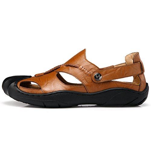 JEDVOO Herren Uomo Leder Sandal Outdoor Sommer Strand Pantolette Schuhe Freizeit Hausschuhe Sandalen Braun