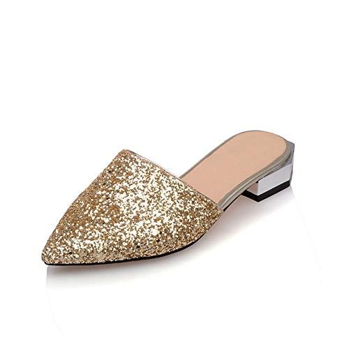 Frauen Hausschuhe Pailletten Elegante Slingback Frühling Sommer Mules Casual Flache Absätze Süße Spitzen Schuhe