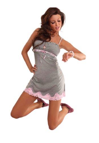 PIGEON Lingerie - Chemise de nuit -  Femme Gris - Grey - Grau/Rosa