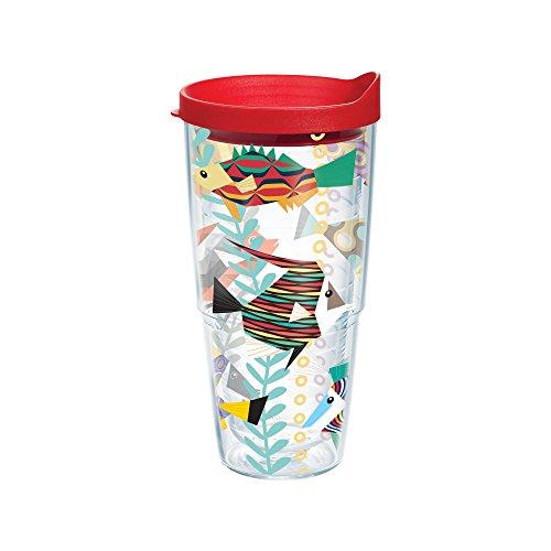 Tervis pesce, Bicchiere con coperchio, colore: rosso, (Pesce Tumbler)