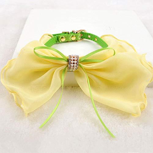 RXQCAOXIA Weiches Lederhalsband, klein, mit Schmetterlingsknoten, verstellbare Halsbänder für Hunde@Grün_22-27cm