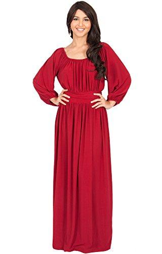 KOH KOH® Plus Size Damen Langarm Rüschenband Maxikleid Empire Taille Cocktail Abend Kleid , Farbe Rot, Größe XL / Extra Large (Plus Size Kostüme Clearance)