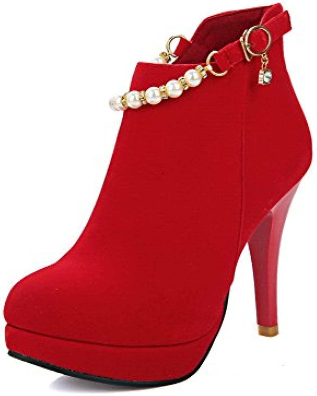 AllhqFashion Damen Rein Stiletto Rund Zehe Mattglasbirne Reißverschluss Stiefel mit Juwelen