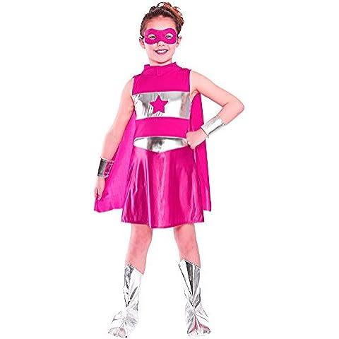Disfraz de superheroína para niña, color rosa. Talla XL 11-13 years (146-158cm)