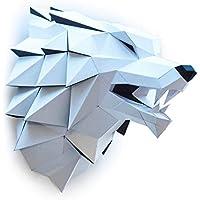 ORIGADREAM Sculpture Papercraft Tête de Loup en Kit 3D à assembler soi-même, Papier cartonné épais 300g PRÉ-COUPÉ
