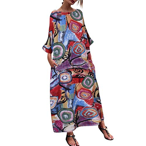 Kostüm Osh Kosh - OIKAY Damen Kleider Mode Böhmischen Bedrucktes Rundem Langärmliges Fledermaus Ärmel Baggy Plus Size Langes Baggy Kaftan Kleid Frauen Maxi Kleid mit Taschen