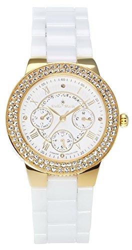 Stella Maris STM15S9- Reloj pulsera analógico de cuarzo para mujer (con diamantes), correa de cerámica Blanco
