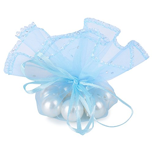 (Dia. 26cm) 100 pz Sacchetti Tulle Veli Organza con Nastrino Bomboniere Portaconfetti come Segnaposto per Matrimonio Nascita Battesimo Compleanno Confezione Gioielli (CELESTE)