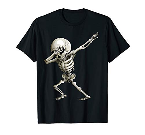 Dabbing Skelett Art Lustige Jolly Roger Halloween Kinder T-Shirt