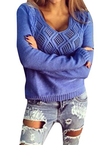 Nlife Women Fashion V Neck Autumn Winter Long Sleeve Sweaters Pullovers Knitwear Blouse (Womens V-neck Pullover)