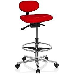 HJH Office - 608331 taburete de trabajo WORK MF tejido rojo, cromado, cómodo, ergonómico, sólido, alta calidad, acolchado, alta gama, especialmente alto, gira 360°, taburete giratorio, taburete de bar