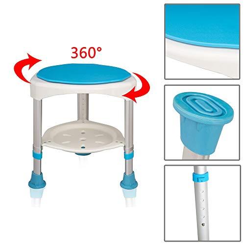Froadp 360° Drehbarer Duschhocker Duschstuhl Höhenverstellbar 45-57cm Anti-Rutsch ohne Rückenlehne für Alten und Schwangere (Modell C)