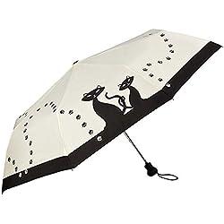 VON LILIENFELD Paraguas Bolsillo Plegable Mujer Automática Motivo Gatos Negros