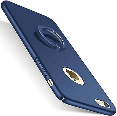 ZRJNYL Support de téléphone avec support de support à anneau rotatif à 360 degrés, Ultra rigide, protecteur de luxe, téléphone de luxe, mat, soyeux, lisse, ordinateur portable, pare-chocs, téléphone, coquille, amortisseur, anti-égratignures, étui de téléphone cellulaire transparent pour iPhone / 6s / 6/7 Plus. Etudiant Moyen âge Femme vieillesse pour empêcher ( Color : Blue , Edition : Iphone5s/SE )