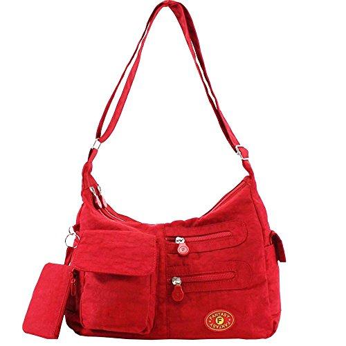 Hautefordiva, Borsa A Tracolla Da Donna 16 Colori Diversi Grande, Nylon, Beige, Grande Rosso