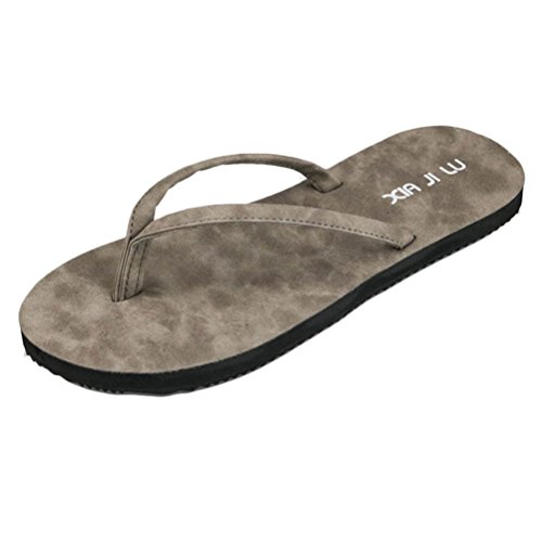 Zhhlaixing Fashion Unisex Beach Flat Shoes Adults Comfortable Non-slip Slippers Gray