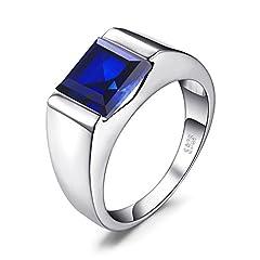 Idea Regalo - JewelryPalace Uomini Quadrata 3.3ct Sintetico Blu Zaffiro Fidanzamento Anello Solido 925 Sterling Argento 24.5