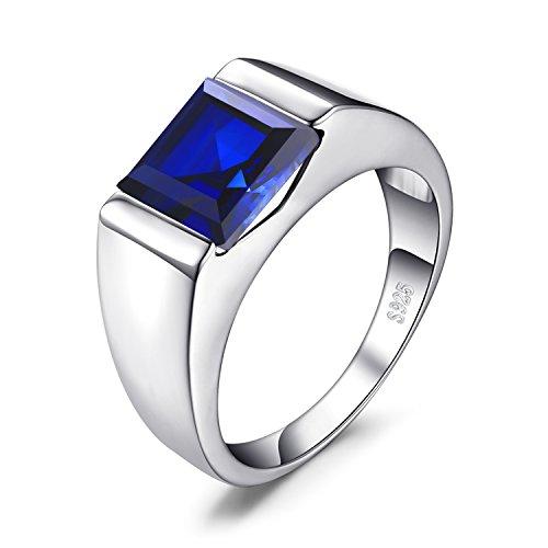 Jewelrypalace Anillo Hombre 3.3ct Con Creado Zafiro Azul Cuadrado Compromiso Sólido Plata de ley 925 Tamaño 17