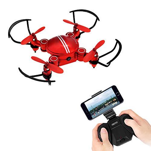 HD HARUDONE Drohne mit Kamera, Mini Drohne Quadcopter RCFerngesteuertes Flugzeuge Coole Gadgets Spielzeug Geschenke Indoor Outdoor Spiele für Kinder Jungen Mädchen (Drohne mit Kamera Rot)
