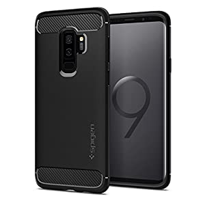 Spigen [Rugged Armor] Galaxy S9 Plus Case with Shock Absorption and Carbon Fiber Design for Samsung Galaxy S9 Plus (2018) 593CS22921 - Matte Black