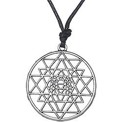 fishhook Collar con Colgante de Mandala de Sri Yantra con símbolo de geometría Sagrada hindú y Anzuelo