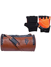 Fashion7 Duffle Leather Gym Bag Combo Set - Duffle Sports Bag/Gym Tote Bags & Free Gym Gloves For Men With Wrist...